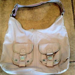 Gap Canvas Sling Bag Purse Handbag Small Book Bag Pink Zipper oe