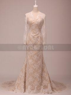 W784 Slim Aline Long Sleeved Vintage Look Lace Wedding Dress Size 14