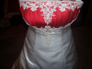 Alford Angelo White and Red Wedding Dress Sz10
