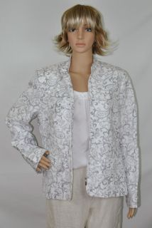 ALFRED DUNNER Spring Jacket Silver White Long Sleeve Women Plus Size