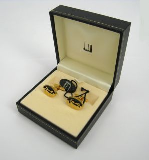 Alfred Dunhill Enamel Golfer Gold Plated Sterling Silver 925 Cufflinks