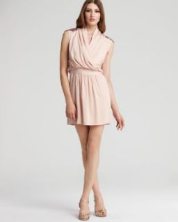 Ali Ro New Pink Silk Sequined Shoulders Faux Wrap Blouson Casual Dress