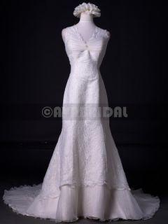 W739 Slim Aline Cap Sleeves Elegant Lace Vintage Wedding Dress Size 10
