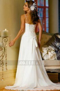 W193 SLIM ALINE SPAGHETTI STRAPS BEADED CHIFFON WEDDING DRESS