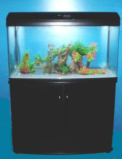 63 Gal Seamless Bow Glass Aquarium with Wood Stand Light Hood Filter