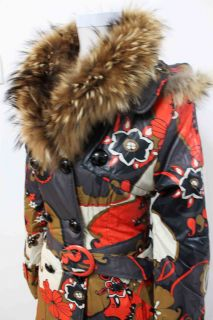 Fox Fur Neck Dream Floral Print Long Coat 3SZ Multi Color