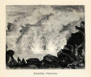 1879 Steel Engraving Kilauea Volcano Volcanic Sandwich Islands Lava