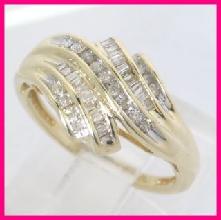 Yellow Gold Round & Baguette Diamond Dome Right Hand Band Ring .39ct