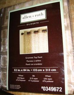 Allen Roth Dilworth Grommet Top Window Panel Drape Curtain Sheer Wheat