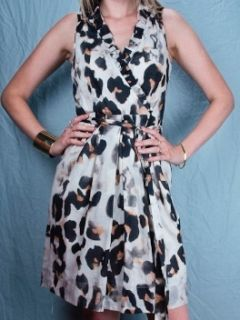 Allen B. Schwartz Size 2 S/Small Dress Leopard Print Wrap Ruffle ABS