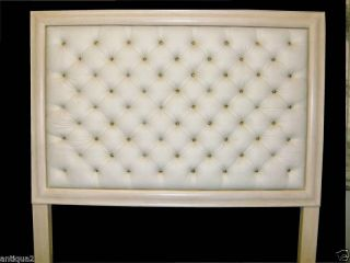 REGENCY CHIC DECO STYLE TUFTED WHITE LEATHER HEADBOARD GLAM KING SIZE