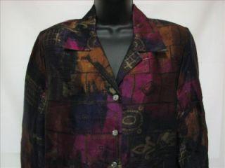Allison Daley Petites Long Sleeve Button Up Shirt Womens Blouse Size