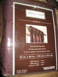 Allen Roth Roselle Plum Textured Pole Top Window Panel Drape Curtain
