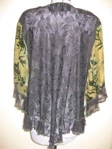 Spencer Alexis Green Black Lace Velvet Sequin Kimono Top Blouse Shrug