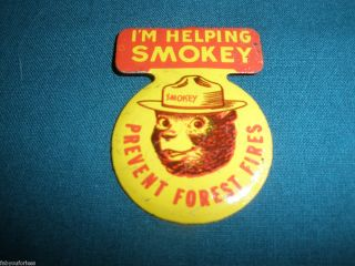 SMOKEY THE BEAR PIN BADGE IM HELPING SMOKEY PREVENT FOREST FIRES METAL