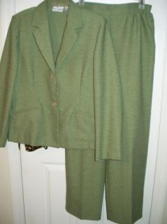 Outfit 12 Alfred Dunner 2pc green pantsuit jacket slacks womens