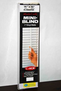 MOR 1 Vinyl Slat Mini Window Blinds Alabaster 14 Widex76 Long 14