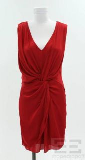 Alice Olivia Red Silk Asymmetric Ruched Shift Dress Size Medium New
