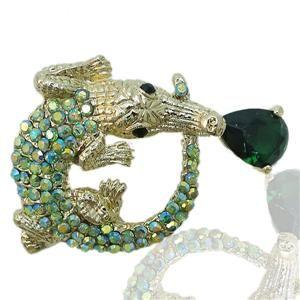 Evil Alligator Brooch Pin Green Rhinestone Crystal Zircon Crocodile