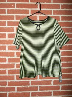 Allison Daley II Sz 2X Green Black Stripe Pullover Top S S Black trim