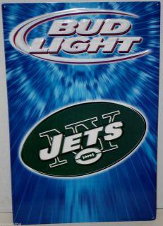 Bud Light Beer New York Jets NFL Football Metal Sign