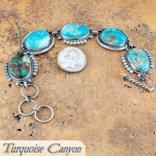 Navajo Native American Pilot Mountain Turquoise Bracelet by Willeto
