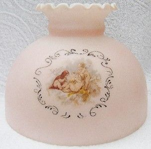 Victorian Cherub Oil Lamp Shade Pink Glass 10 Angels Ruffled Top