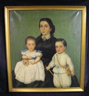 19thC Antique American Folk Art Portrait Painting Mother Sister