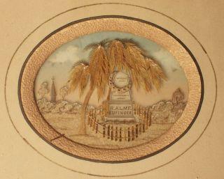 1850s Miniature American Folk Art Mourning Painting Graveyard Diorama