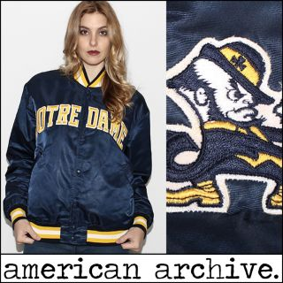 Starter NOTRE DAME Fighting Irish satin College Football Jacket L