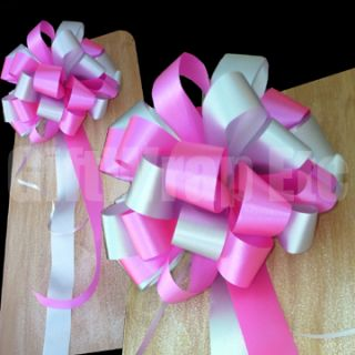 10 Hot Pink Fuchsia Silver Wedding Bows Pew Chair Gift Party Shower