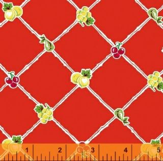American Retro Red Cherry Fruit Fabric Vintage Look