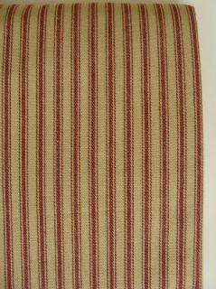 Primitive Country Barn Red Tan Ticking Shower Curtain
