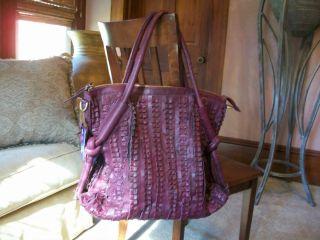 Auth Amerileather Distressed Purple Leather Large Hobo Couture Handbag