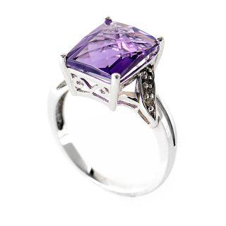 10K White Gold Amethyst Diamonds Ring