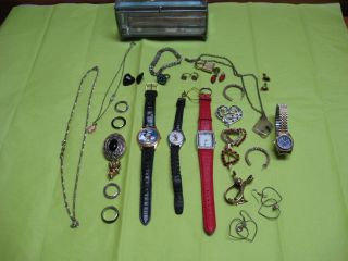Jewerly Lot Mickey Mouse watches S A L ear rings Vintage Avon compact