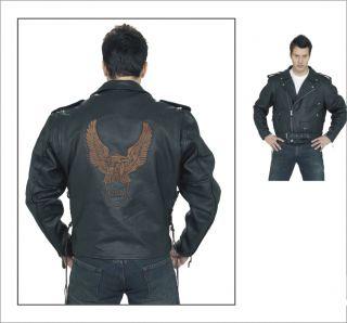 Mens Leather Biker Motorcycle Jacket American Eagle Emb