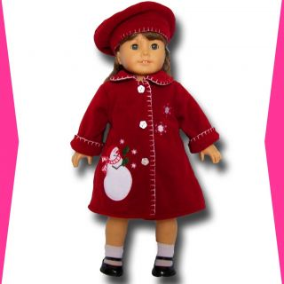 Doll Clothes Fit American Girl Red Fleece Coat and Hat Beret Set