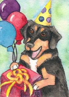 DOXEN DOXIE dog AMY BOLIN Watercolor Painting Birthday party black tan