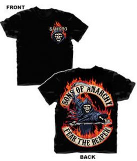 Sons of Anarchy Reaper with Flame Black T Shirt Offical Licensed Adult