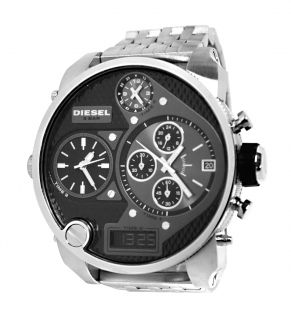 SBA oversize analog/digital black dial silver bracelet men watch NEW