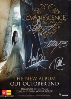 Open Door Fully Signed Autographed Poster CD Shirt Amy Lee RARE