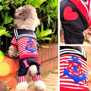 Cute Red Sailor Suit Navy Dog Pet Clothes Summer Clothing Puppy