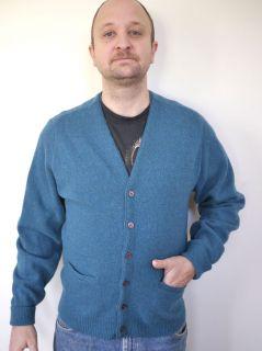 Vintage 1950s Andover Lambs Wool Blue Heather Grandpa Cardigan Sweater