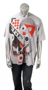 American Rag Mens Gray, Black and Red Graphic Print Crewneck T Shirt