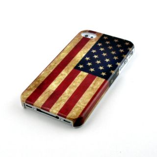 Aged Retro Vintage American Flag iPhone 4 Case and Hard Cover (4S 4G