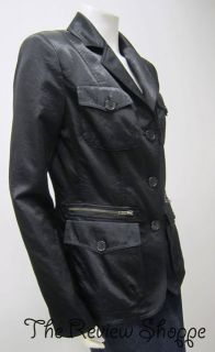 Andrea Jovine Fitted Trench Style Long Sleeve Button Down Jacket Black