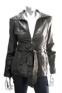 Andrew Marc New York Womens Black Belted Leather Jacket Sz XS M