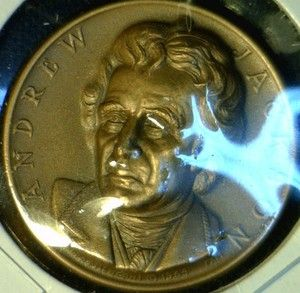 1964 Andrew Jackson High Relief Commemorative Brass Medal Token Coin