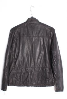 Andrew Marc Mens Warp Black Leather Distressed Motorcycle Jacket